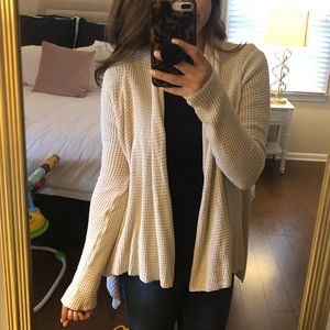 Waffle knit open cardigan